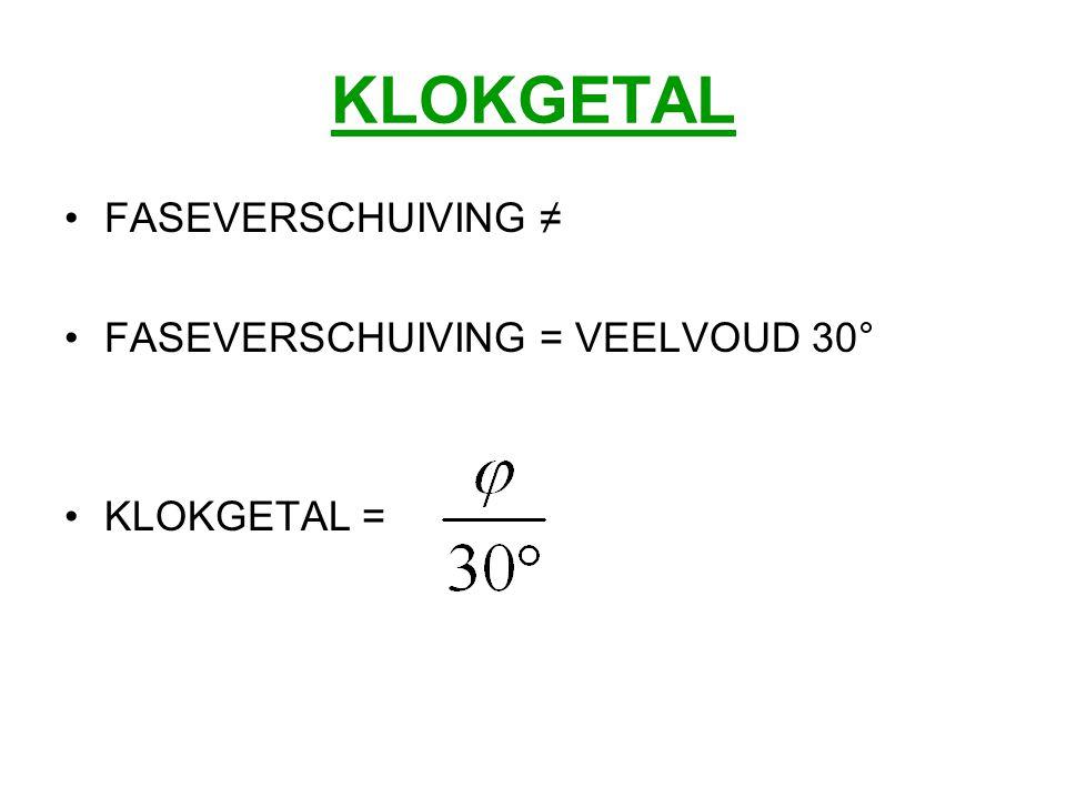 KLOKGETAL FASEVERSCHUIVING ≠ FASEVERSCHUIVING = VEELVOUD 30°