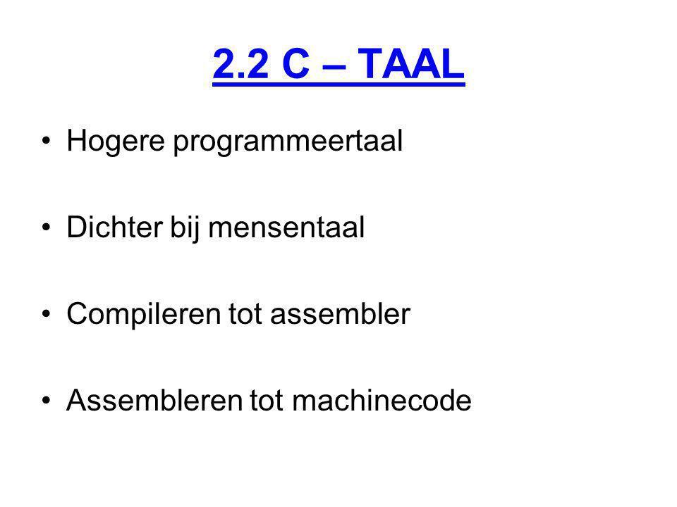 2.2 C – TAAL Hogere programmeertaal Dichter bij mensentaal