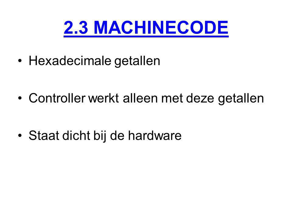 2.3 MACHINECODE Hexadecimale getallen