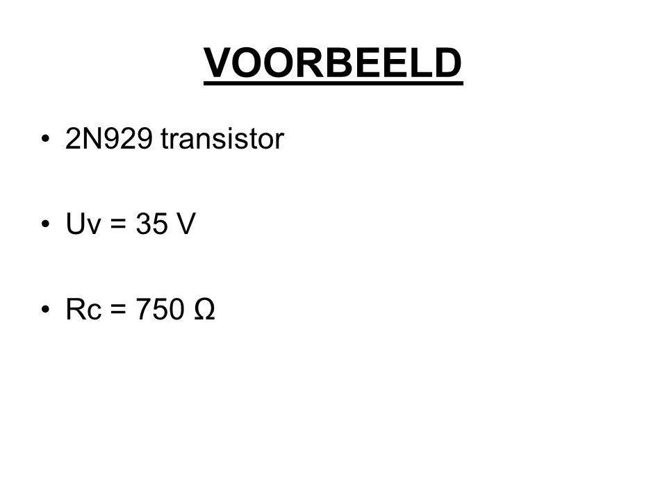 VOORBEELD 2N929 transistor Uv = 35 V Rc = 750 Ω