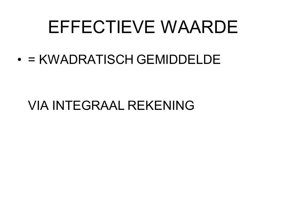 EFFECTIEVE WAARDE = KWADRATISCH GEMIDDELDE VIA INTEGRAAL REKENING