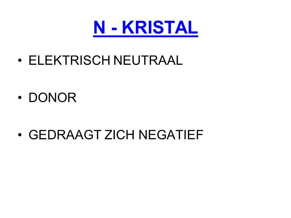 N - KRISTAL ELEKTRISCH NEUTRAAL DONOR GEDRAAGT ZICH NEGATIEF