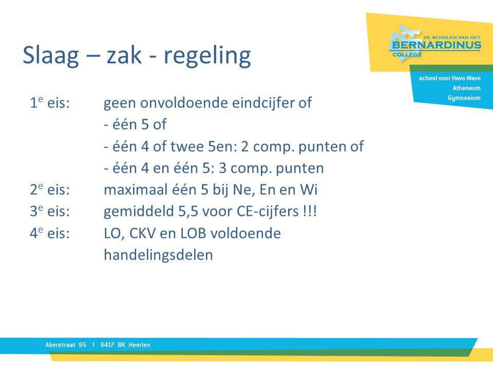 Slaag – zak - regeling 1e eis: geen onvoldoende eindcijfer of