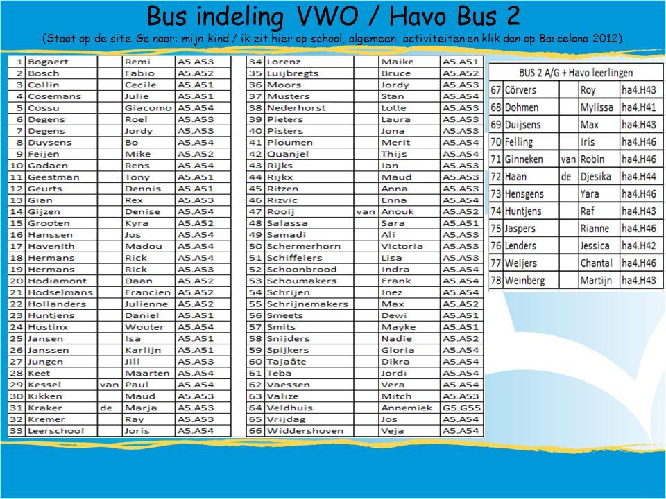 Bus indeling VWO / Havo Bus 2 (Staat op de site