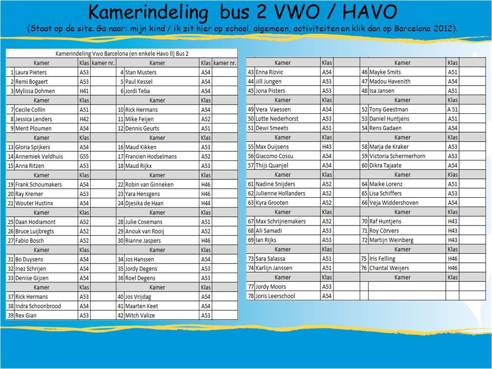 Kamerindeling bus 2 VWO / HAVO (Staat op de site