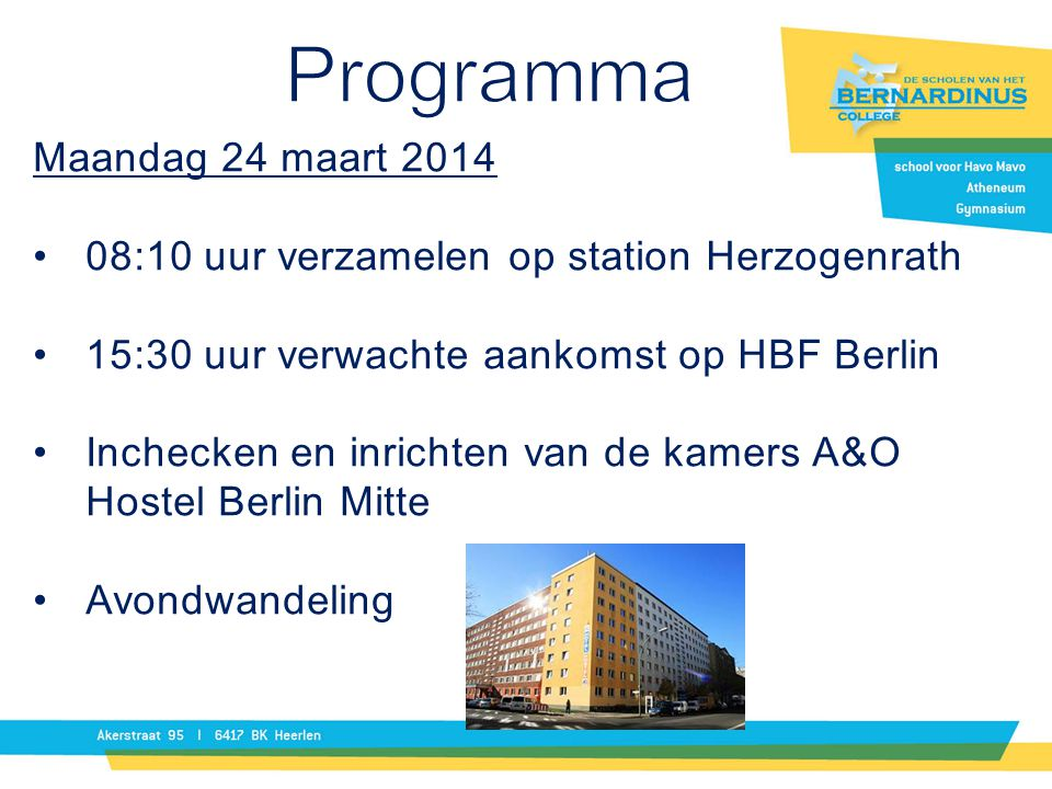 Programma Maandag 24 maart 2014