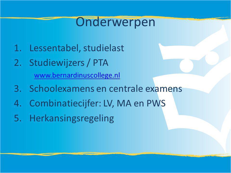 Onderwerpen Lessentabel, studielast Studiewijzers / PTA