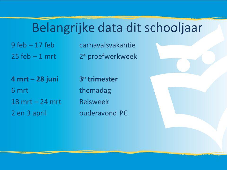 Belangrijke data dit schooljaar