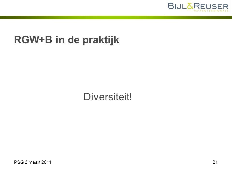 RGW+B in de praktijk Diversiteit! PSG 3 maart 2011 21