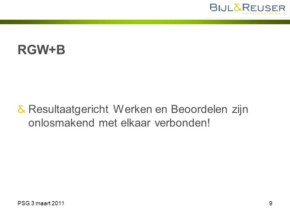 RGW+B Resultaatgericht Werken en Beoordelen zijn onlosmakend met elkaar verbonden! PSG 3 maart 2011