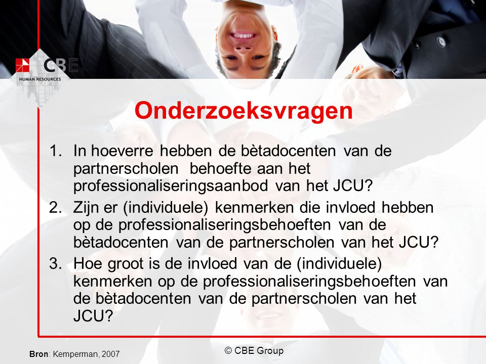 Onderzoeksvragen In hoeverre hebben de bètadocenten van de partnerscholen behoefte aan het professionaliseringsaanbod van het JCU
