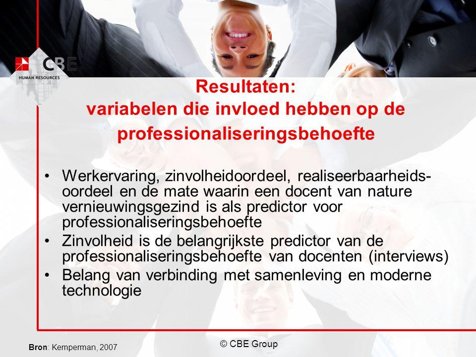 Resultaten: variabelen die invloed hebben op de professionaliseringsbehoefte