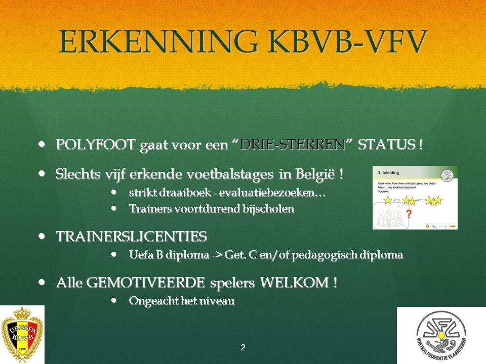ERKENNING KBVB-VFV POLYFOOT gaat voor een DRIE-STERREN STATUS !