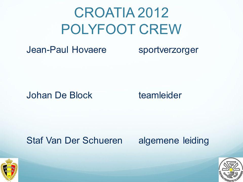 CROATIA 2012 POLYFOOT CREW Jean-Paul Hovaere sportverzorger