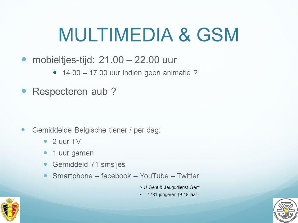 MULTIMEDIA & GSM mobieltjes-tijd: 21.00 – 22.00 uur Respecteren aub