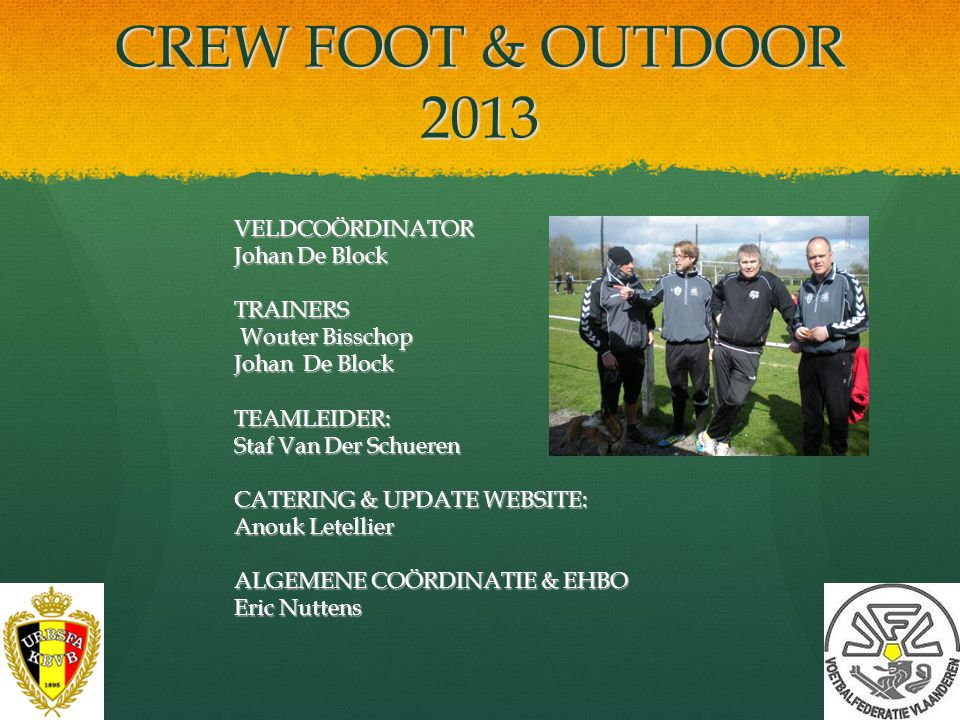 CREW FOOT & OUTDOOR 2013 VELDCOÖRDINATOR Johan De Block TRAINERS