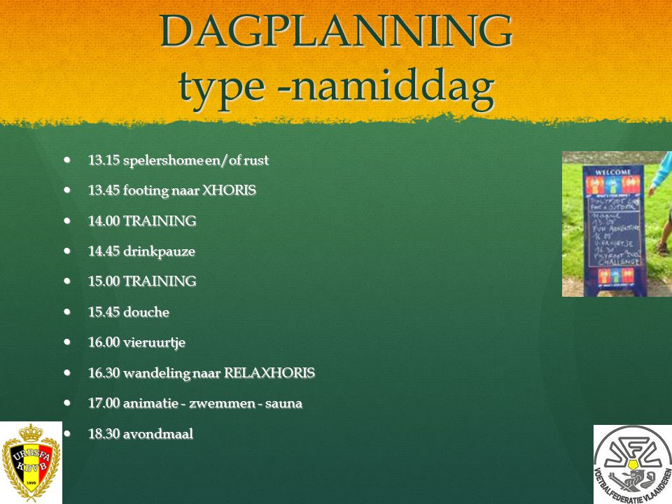 DAGPLANNING type -namiddag