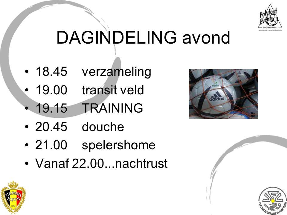 DAGINDELING avond 18.45 verzameling 19.00 transit veld 19.15 TRAINING