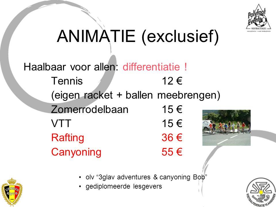 ANIMATIE (exclusief) Haalbaar voor allen: differentiatie ! Tennis 12 €