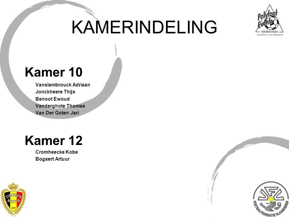 KAMERINDELING Kamer 10 Kamer 12 Vanslambrouck Adriaan Jonckheere Thijs