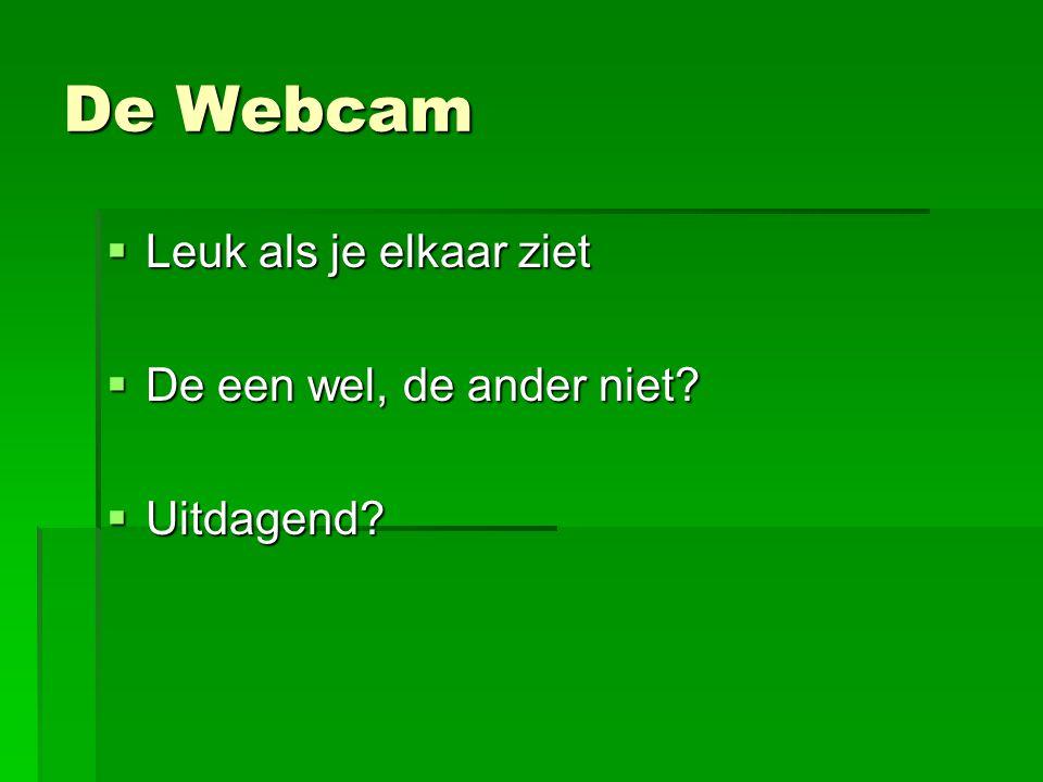 De Webcam Leuk als je elkaar ziet De een wel, de ander niet