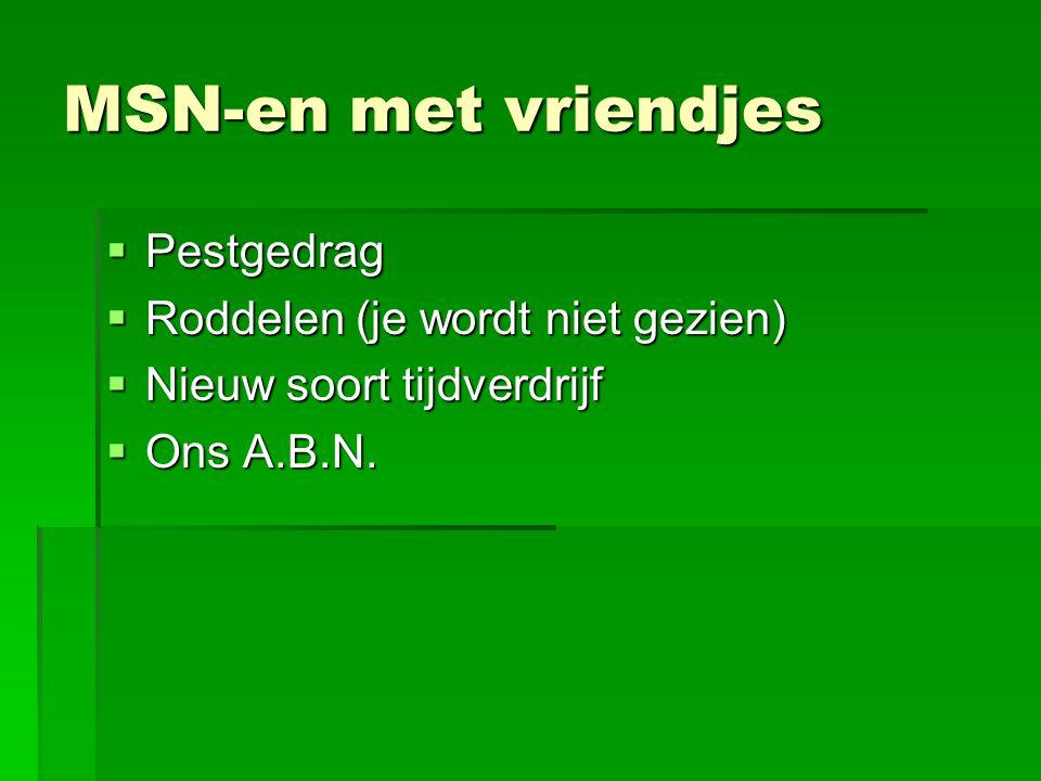 MSN-en met vriendjes Pestgedrag Roddelen (je wordt niet gezien)