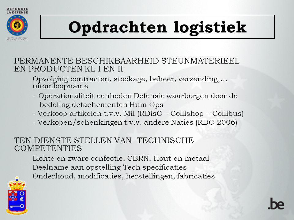 Opdrachten logistiek PERMANENTE BESCHIKBAARHEID STEUNMATERIEEL EN PRODUCTEN KL I EN II.