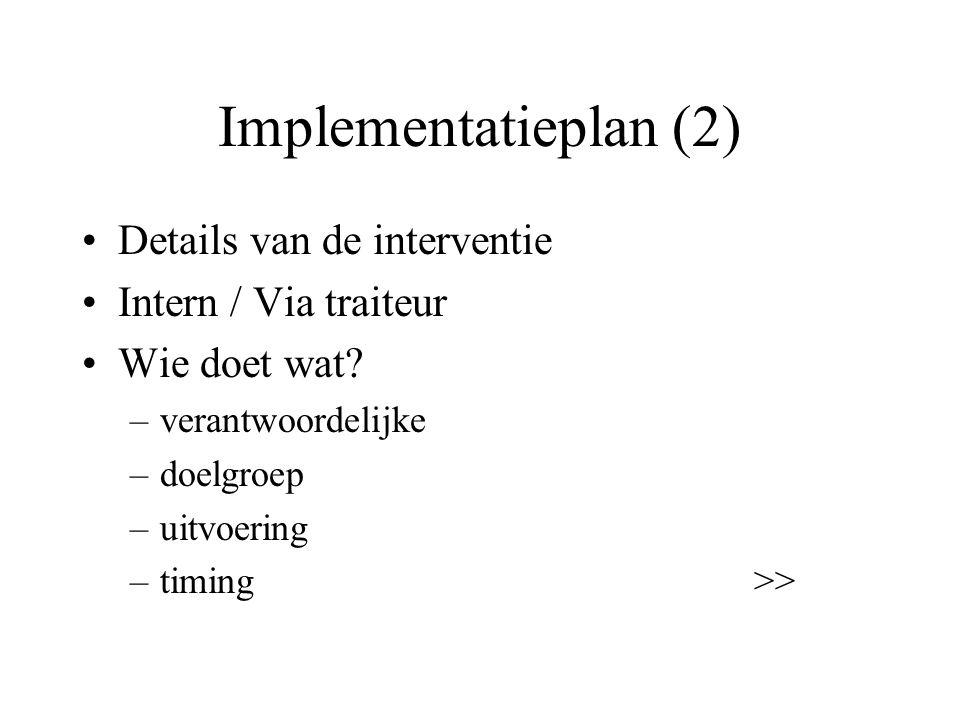 Implementatieplan (2) Details van de interventie Intern / Via traiteur