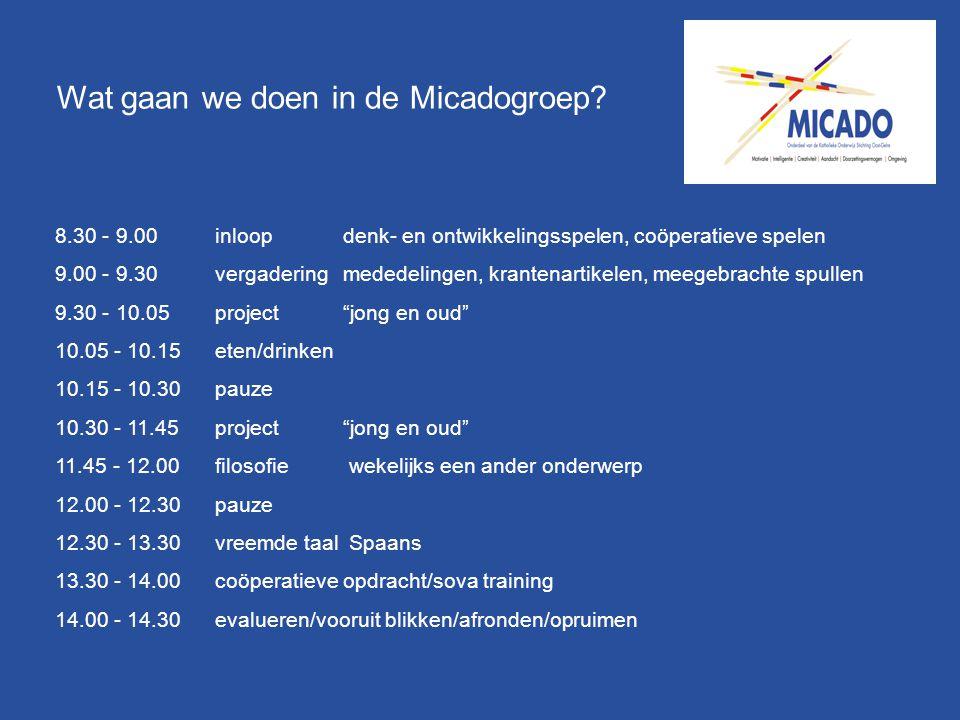 Wat gaan we doen in de Micadogroep