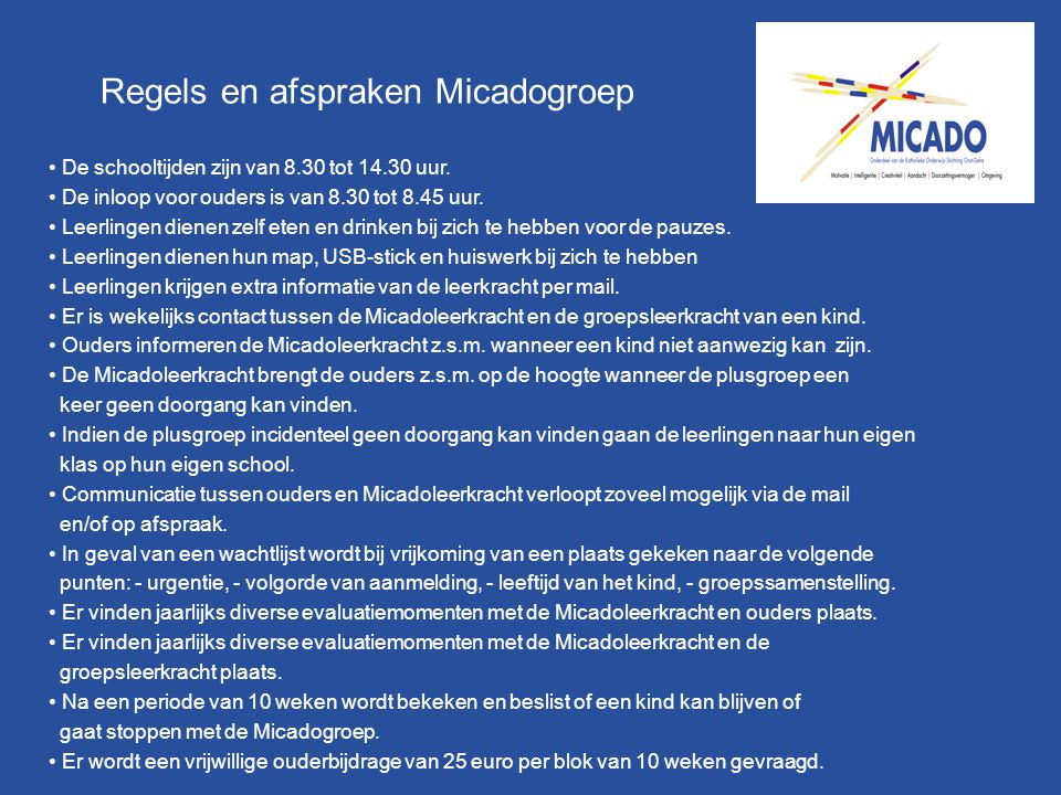 Regels en afspraken Micadogroep