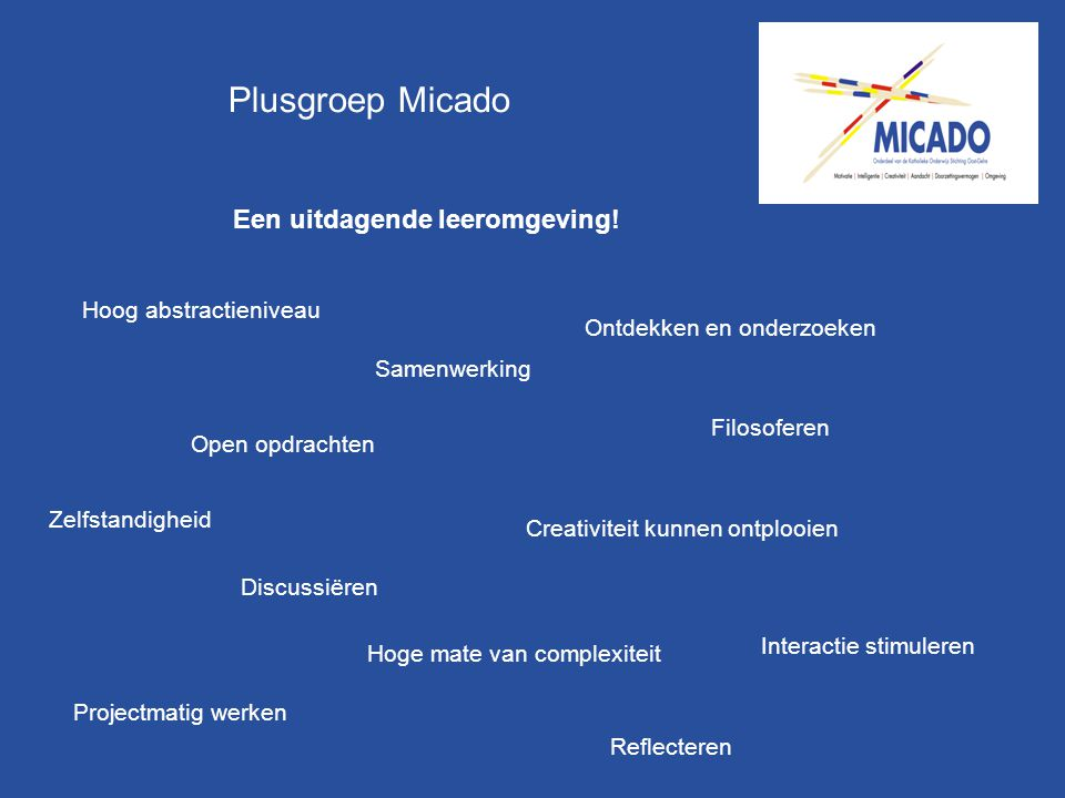 Plusgroep Micado Een uitdagende leeromgeving! Hoog abstractieniveau
