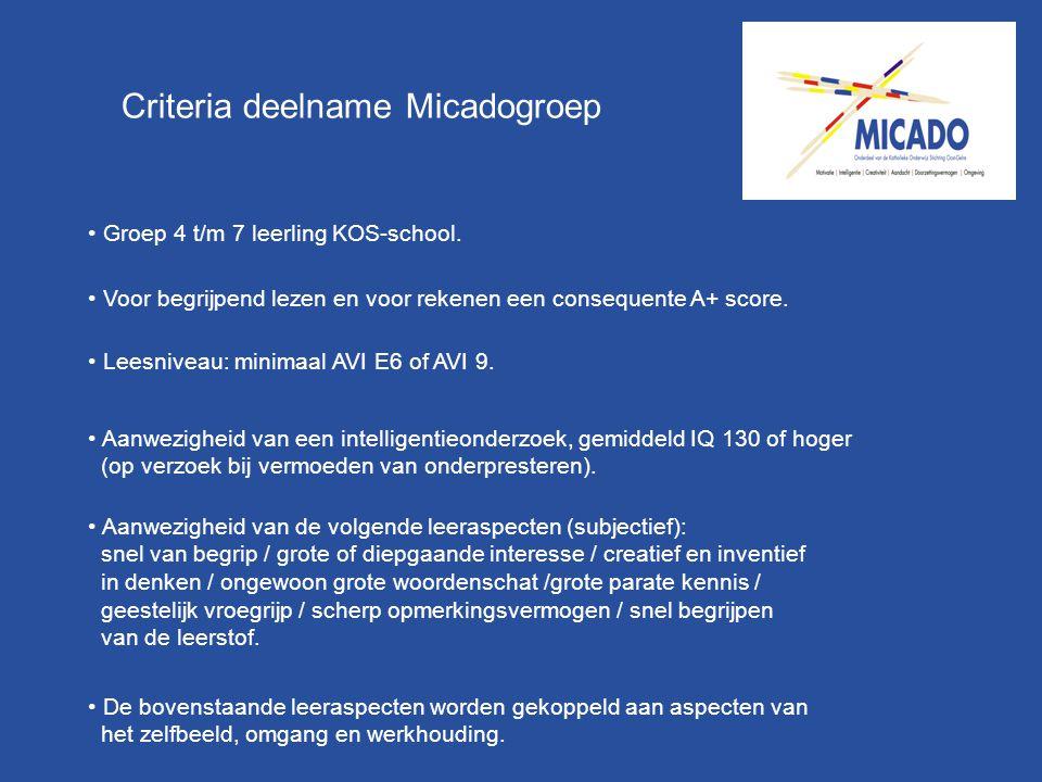 Criteria deelname Micadogroep