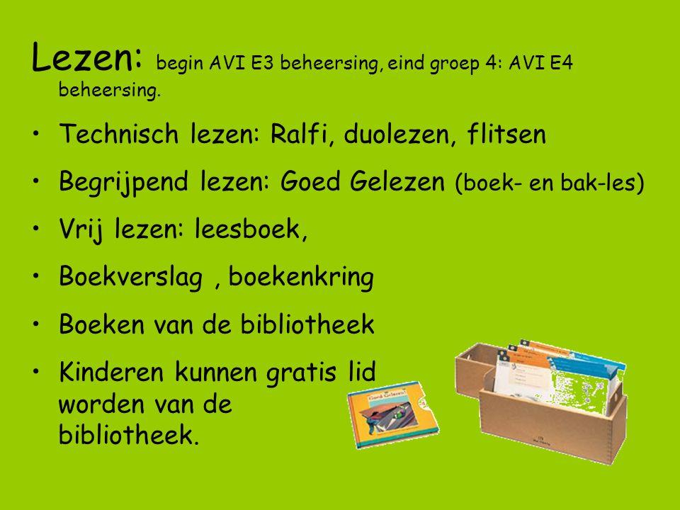Lezen: begin AVI E3 beheersing, eind groep 4: AVI E4 beheersing.