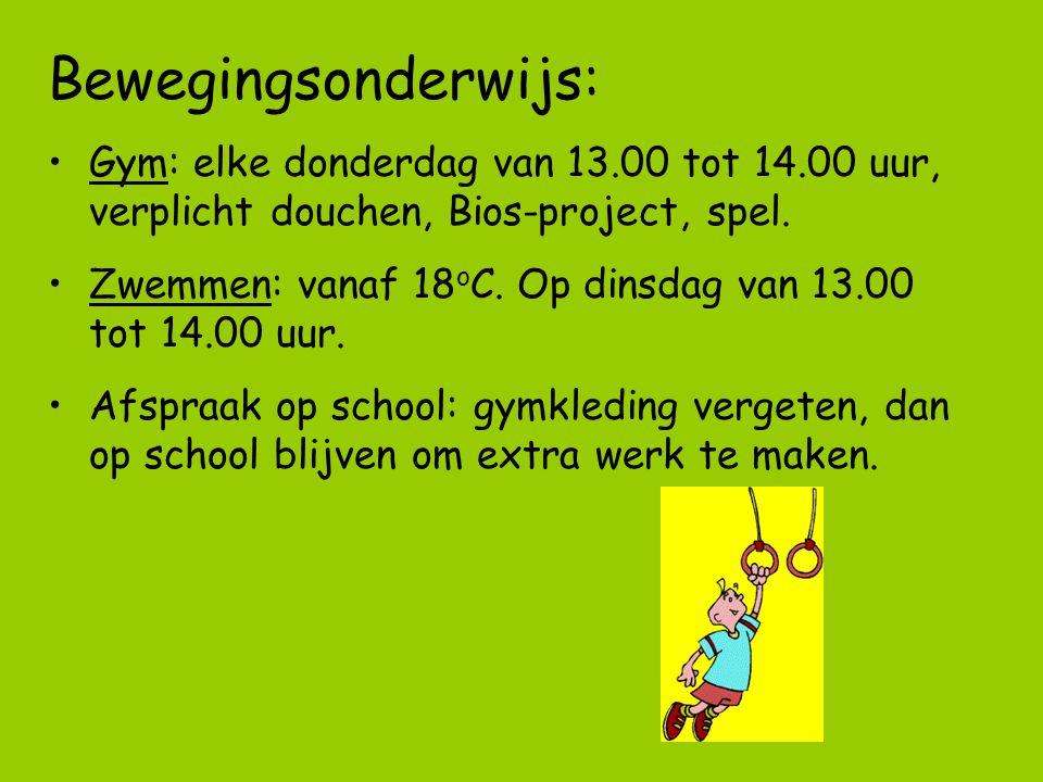 Bewegingsonderwijs: Gym: elke donderdag van 13.00 tot 14.00 uur, verplicht douchen, Bios-project, spel.