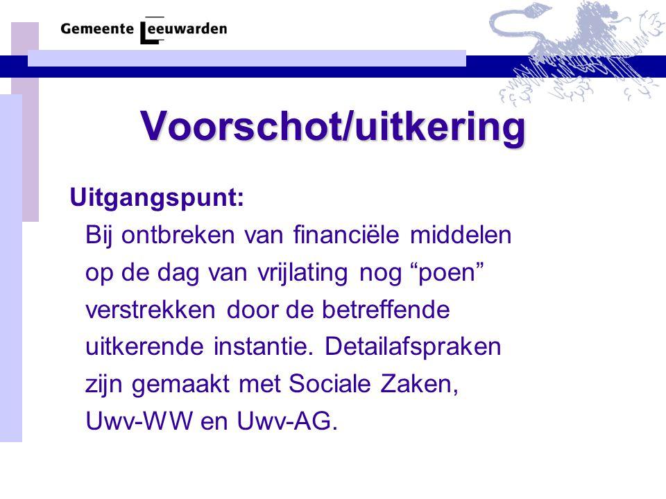 Voorschot/uitkering Bij ontbreken van financiële middelen