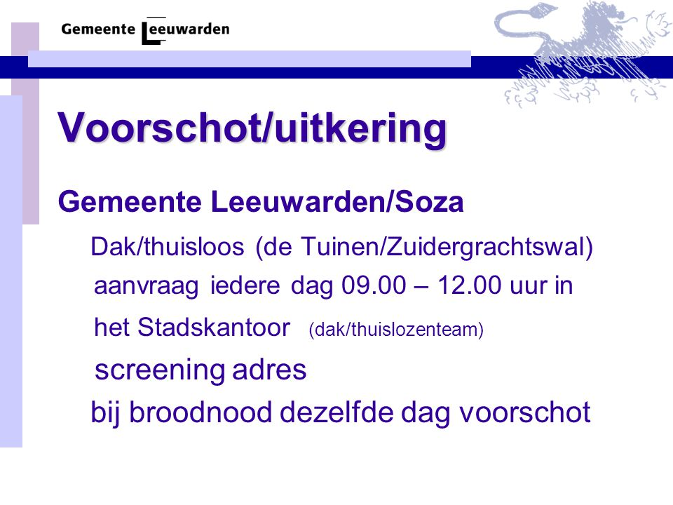 Voorschot/uitkering Gemeente Leeuwarden/Soza