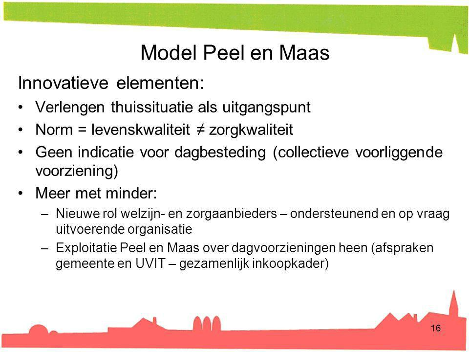 Model Peel en Maas Innovatieve elementen: