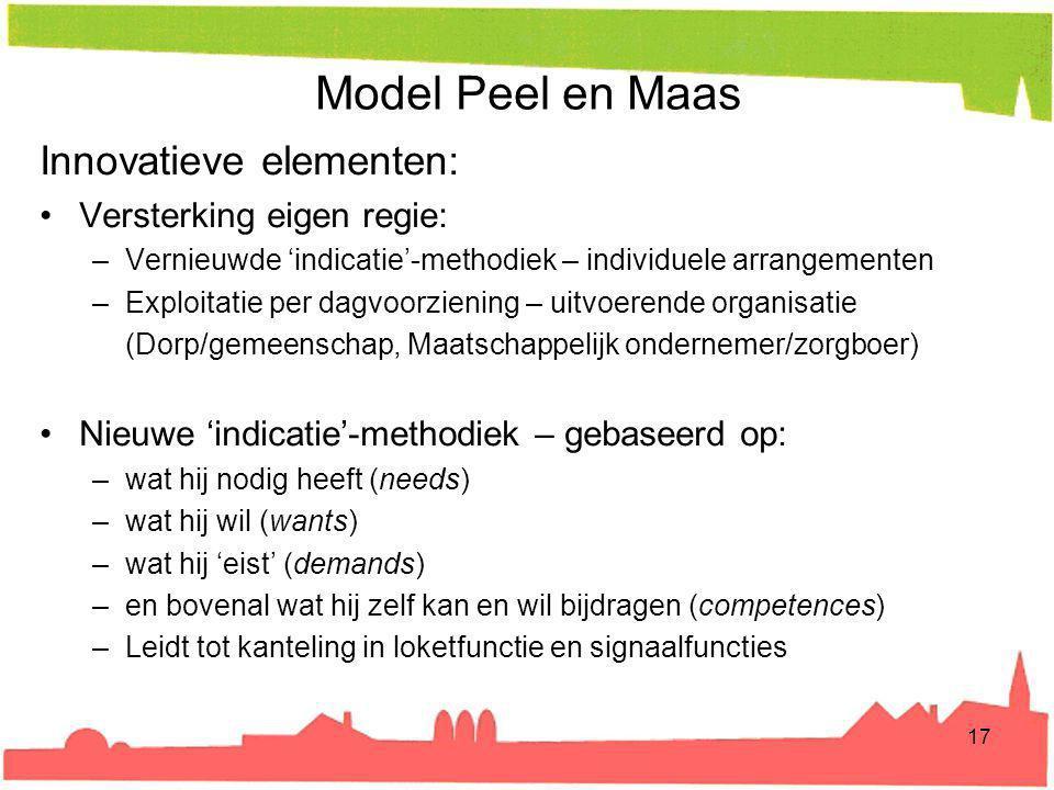 Model Peel en Maas Innovatieve elementen: Versterking eigen regie: