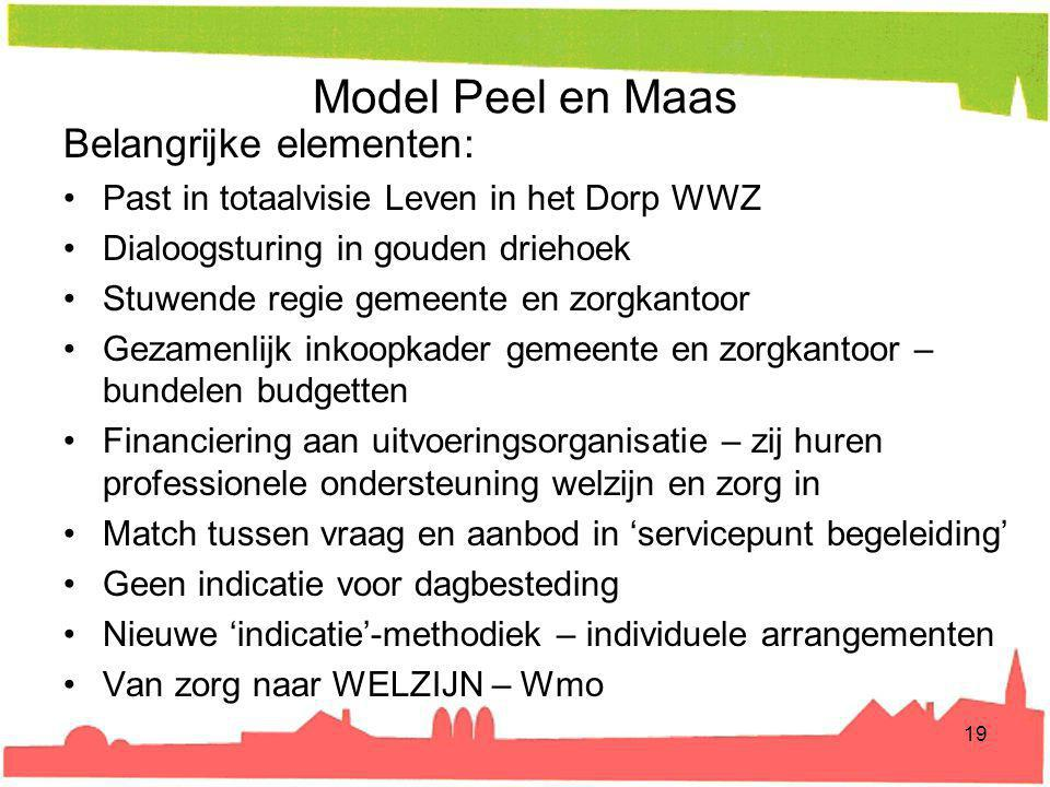 Model Peel en Maas Belangrijke elementen: