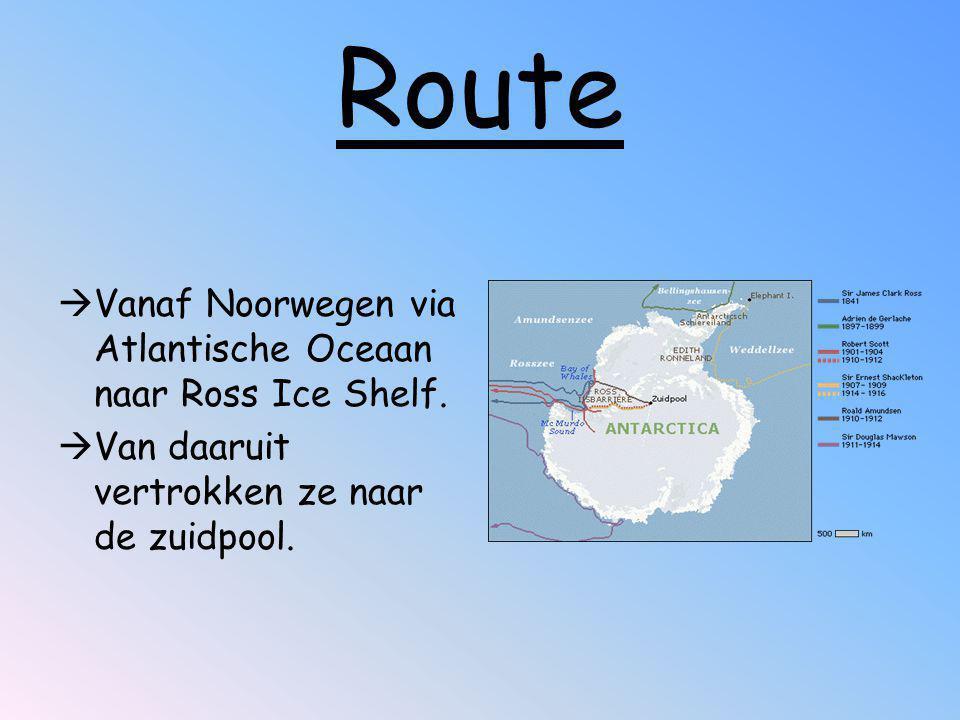 Route Vanaf Noorwegen via Atlantische Oceaan naar Ross Ice Shelf.