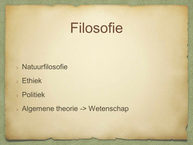 Filosofie Natuurfilosofie Ethiek Politiek