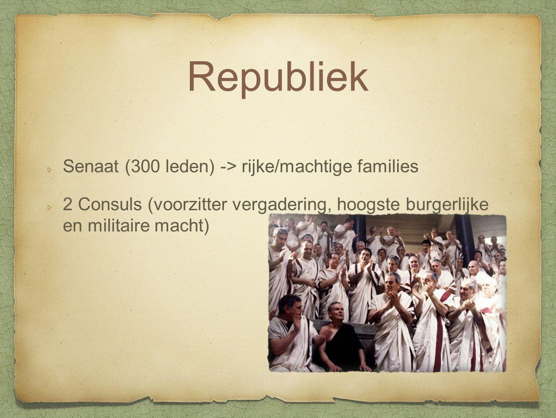 Republiek Senaat (300 leden) -> rijke/machtige families