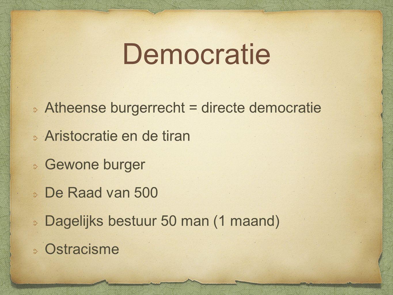 Democratie Atheense burgerrecht = directe democratie