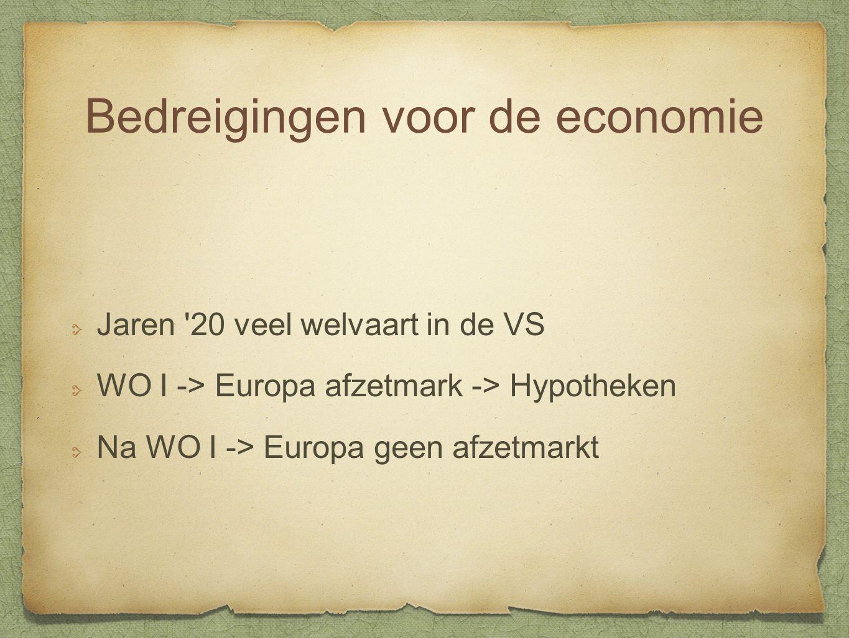 Bedreigingen voor de economie