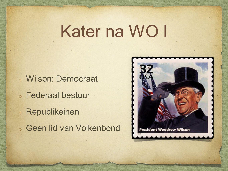 Kater na WO I Wilson: Democraat Federaal bestuur Republikeinen