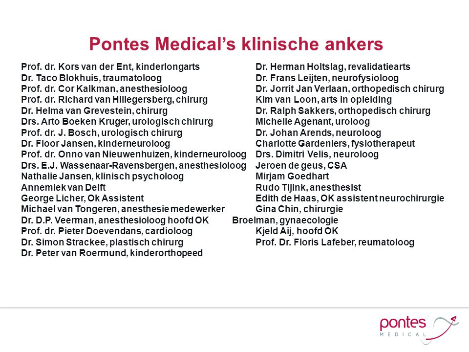 Pontes Medical's klinische ankers
