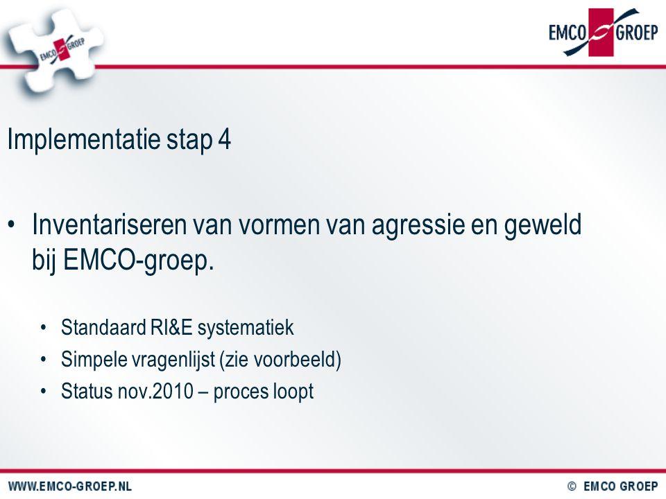 Inventariseren van vormen van agressie en geweld bij EMCO-groep.