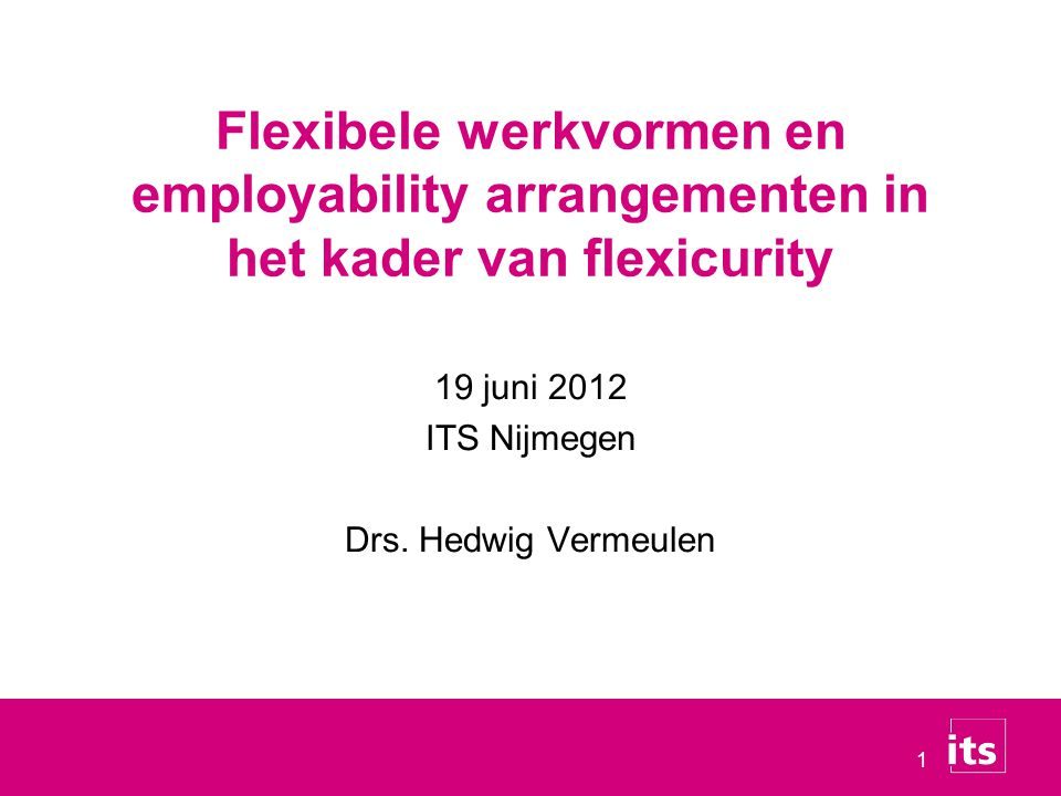19 juni 2012 ITS Nijmegen Drs. Hedwig Vermeulen