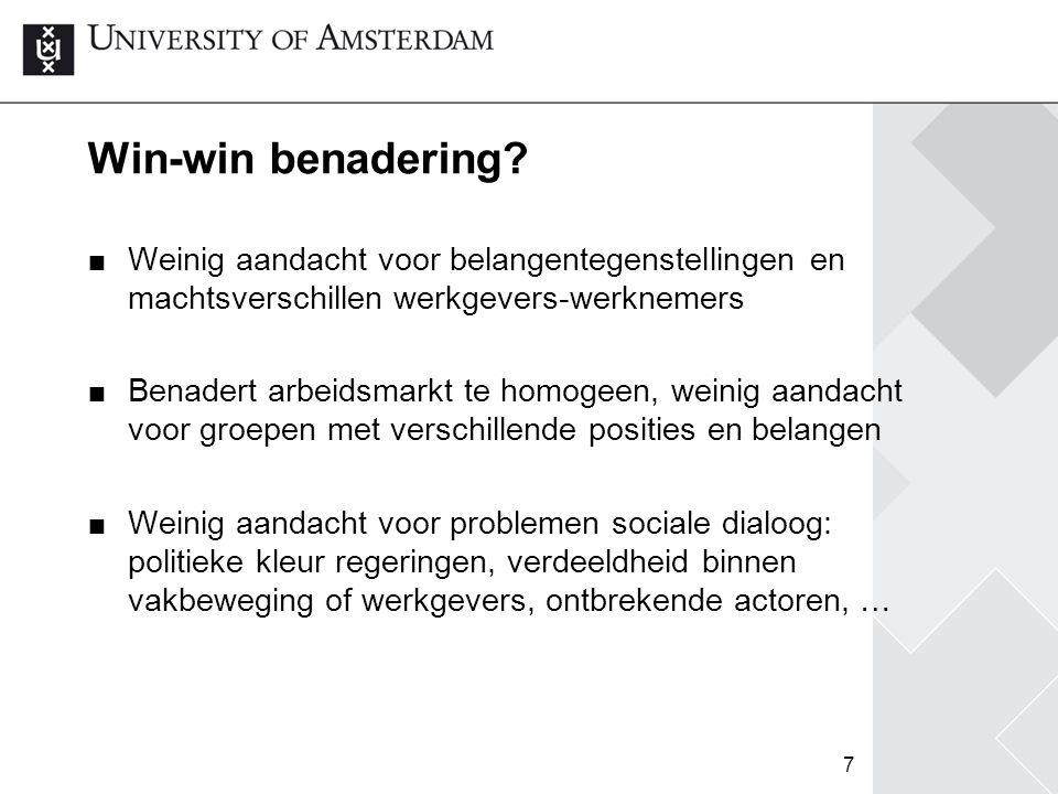 Win-win benadering Weinig aandacht voor belangentegenstellingen en machtsverschillen werkgevers-werknemers.
