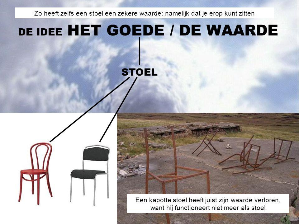 / DE WAARDE DE IDEE HET GOEDE STOEL